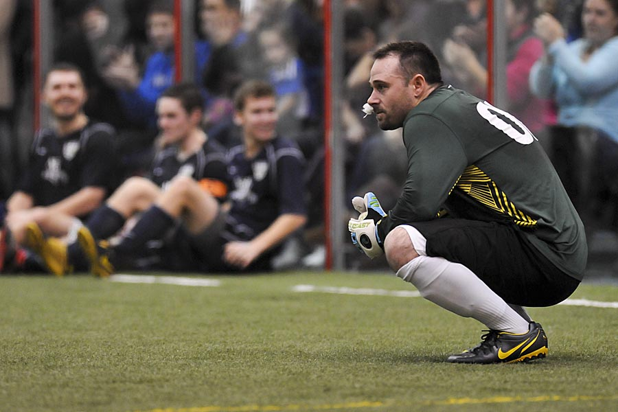 Anderson waits intently during a playoff shootout with South Sound FC. (Wilson Tsoi)