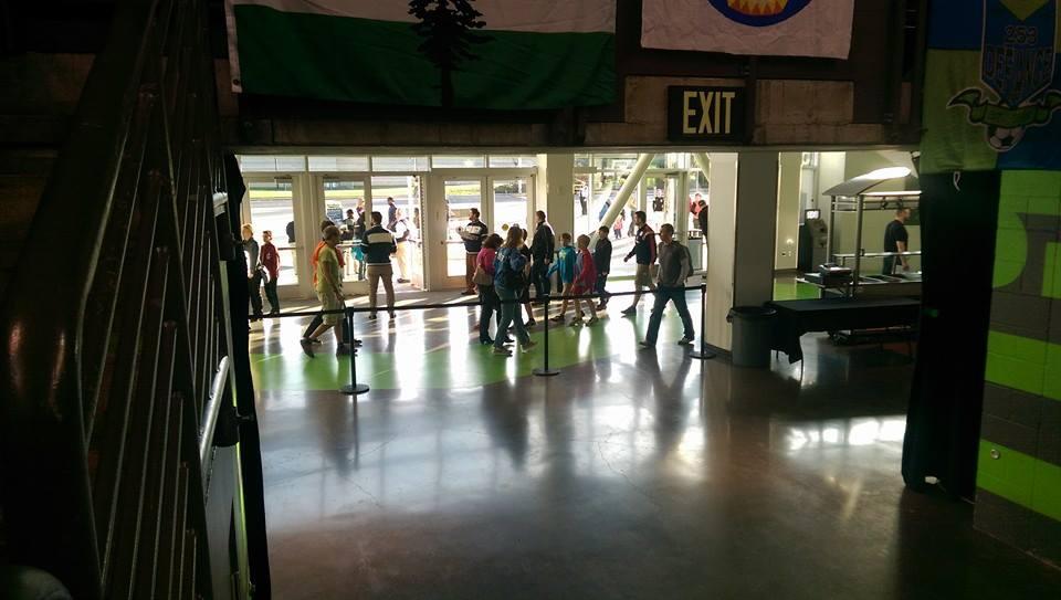 Fans enter ShoWare on Sunday.