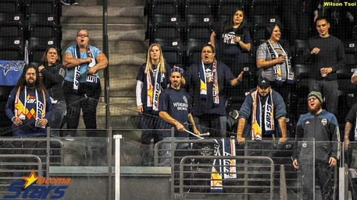 A traditional outdoor-style supporters group at an arena soccer match? The Tacoma Stars Satellites are making it happen. (Wilson Tsoi)